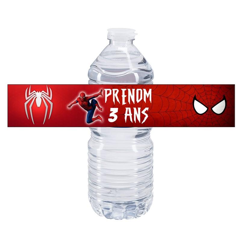 etiquette bouteille d'eau spiderman