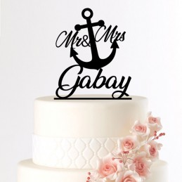 cake topper mariage ancre