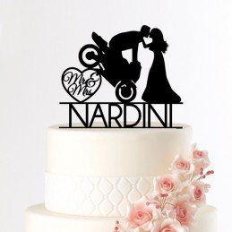 cake topper mariage moto